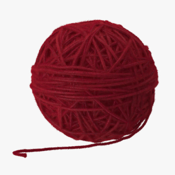 3d model red ball yarn