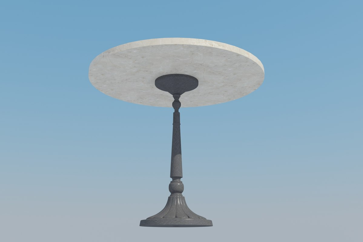 wrought iron marble table 3d model