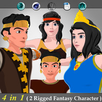 4 in 1 ( Rigged Fantasy Character )