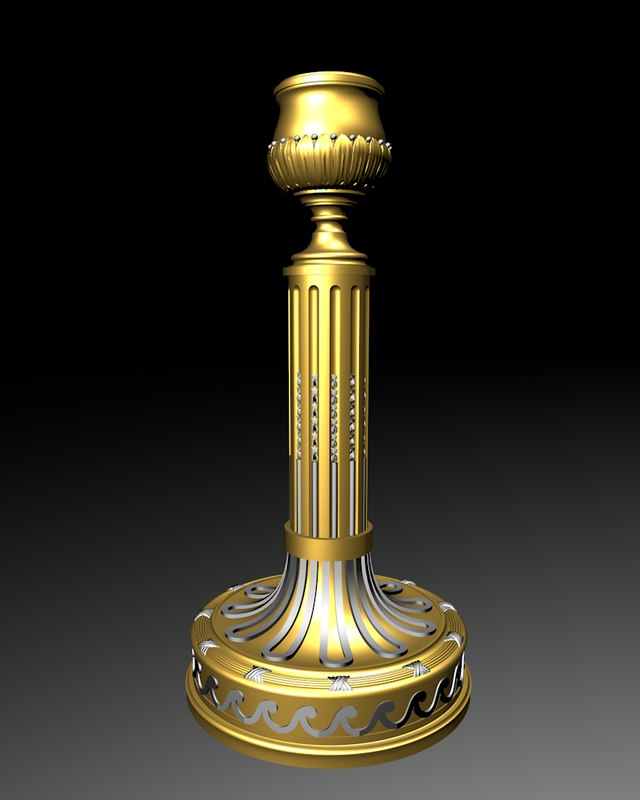 3d model french neoclassical candlestick