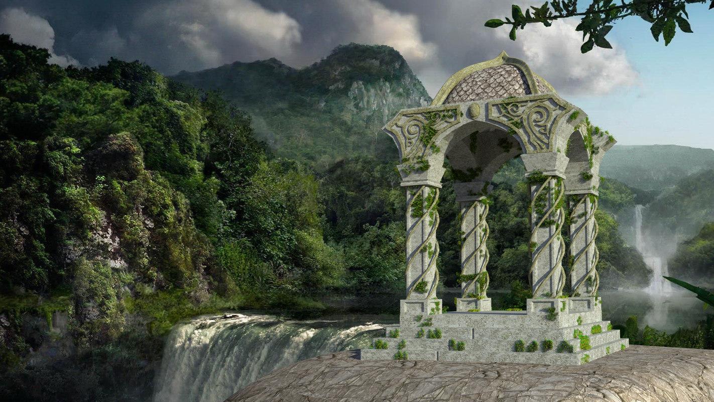 mossy temple 3d obj