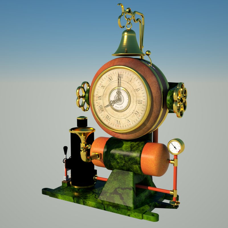 steampunk clock 1 3d model