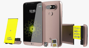 realistic lg g5 pink 3ds
