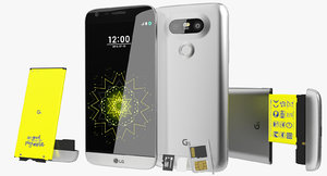3d realistic lg g5 silver model