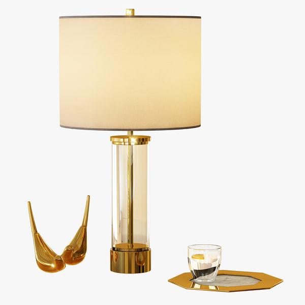 acrylic column table lamp 3d model