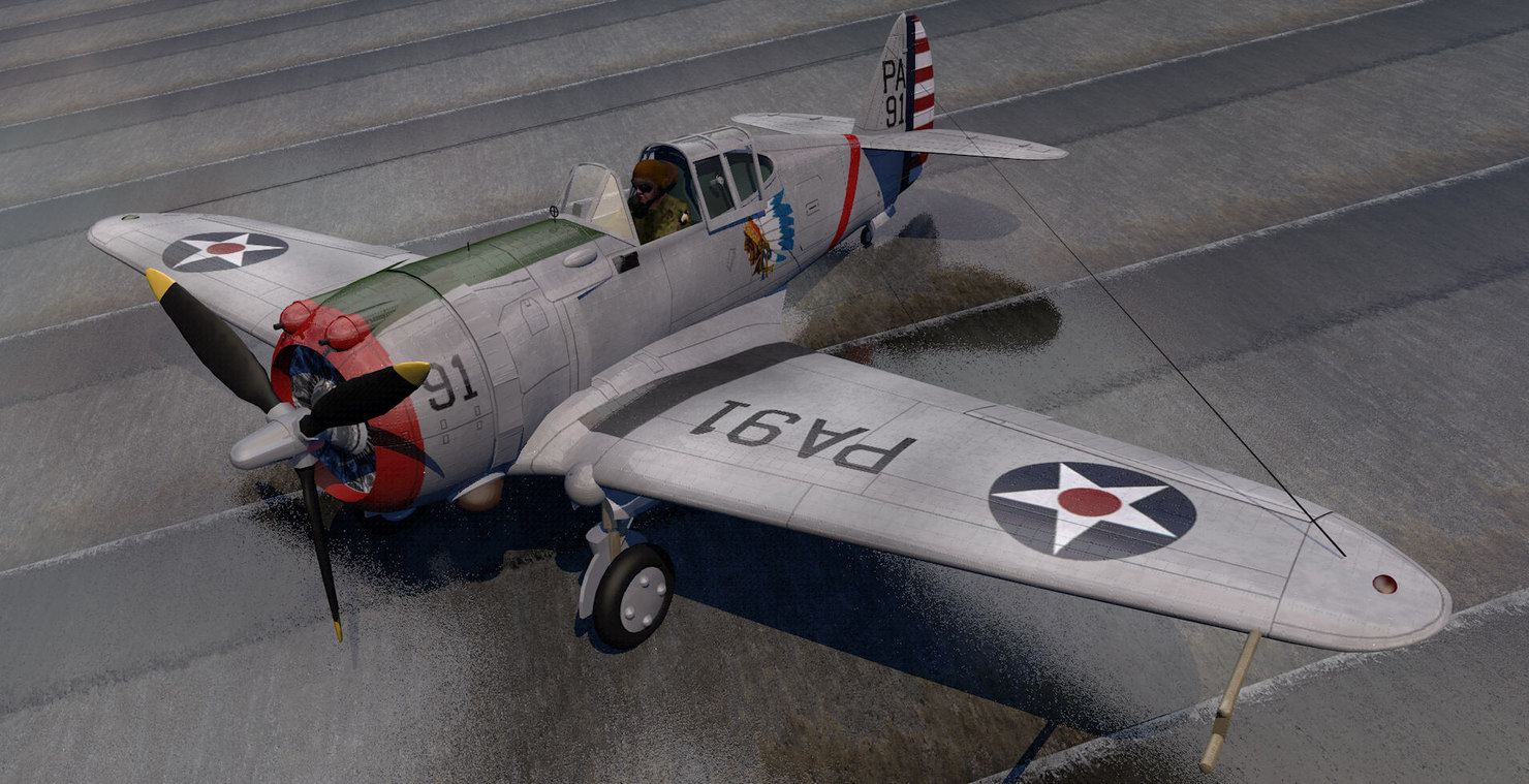 curtiss p-36a hawk fighter aircraft 3d 3ds