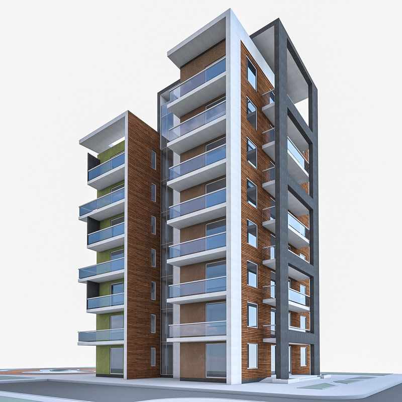 Apartment house building 3d model for Apartment 3d model