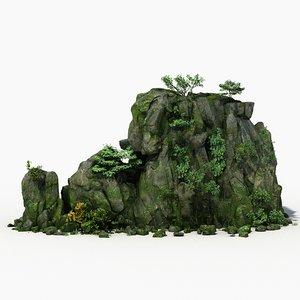 rock stone landscape moss 3d max