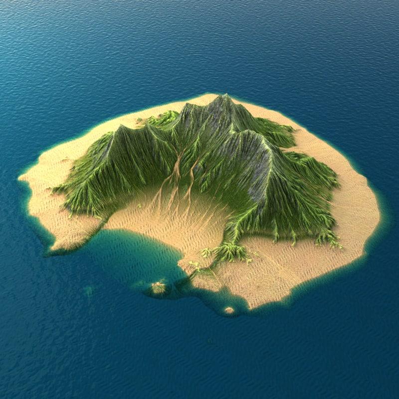 tropical island terrain 3 3d model