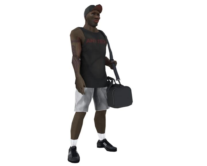 3d male afro american model