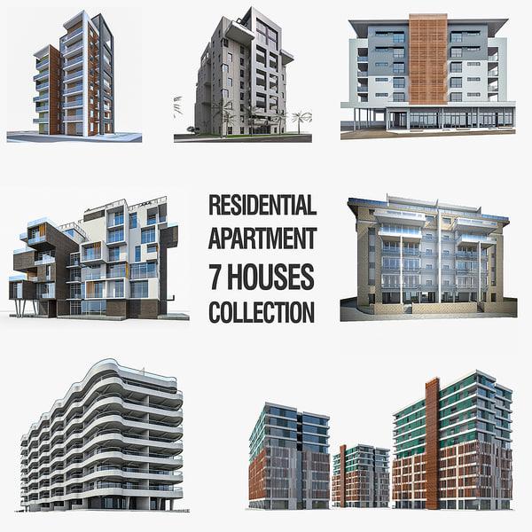 residential apartment buildings 3d obj