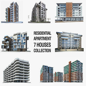 residential apartment buildings 3d obj