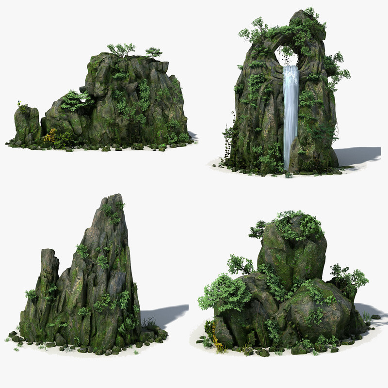 max rock stone landscape moss