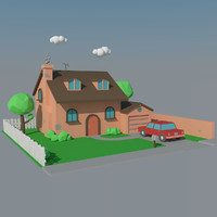 Low Poly House & Car