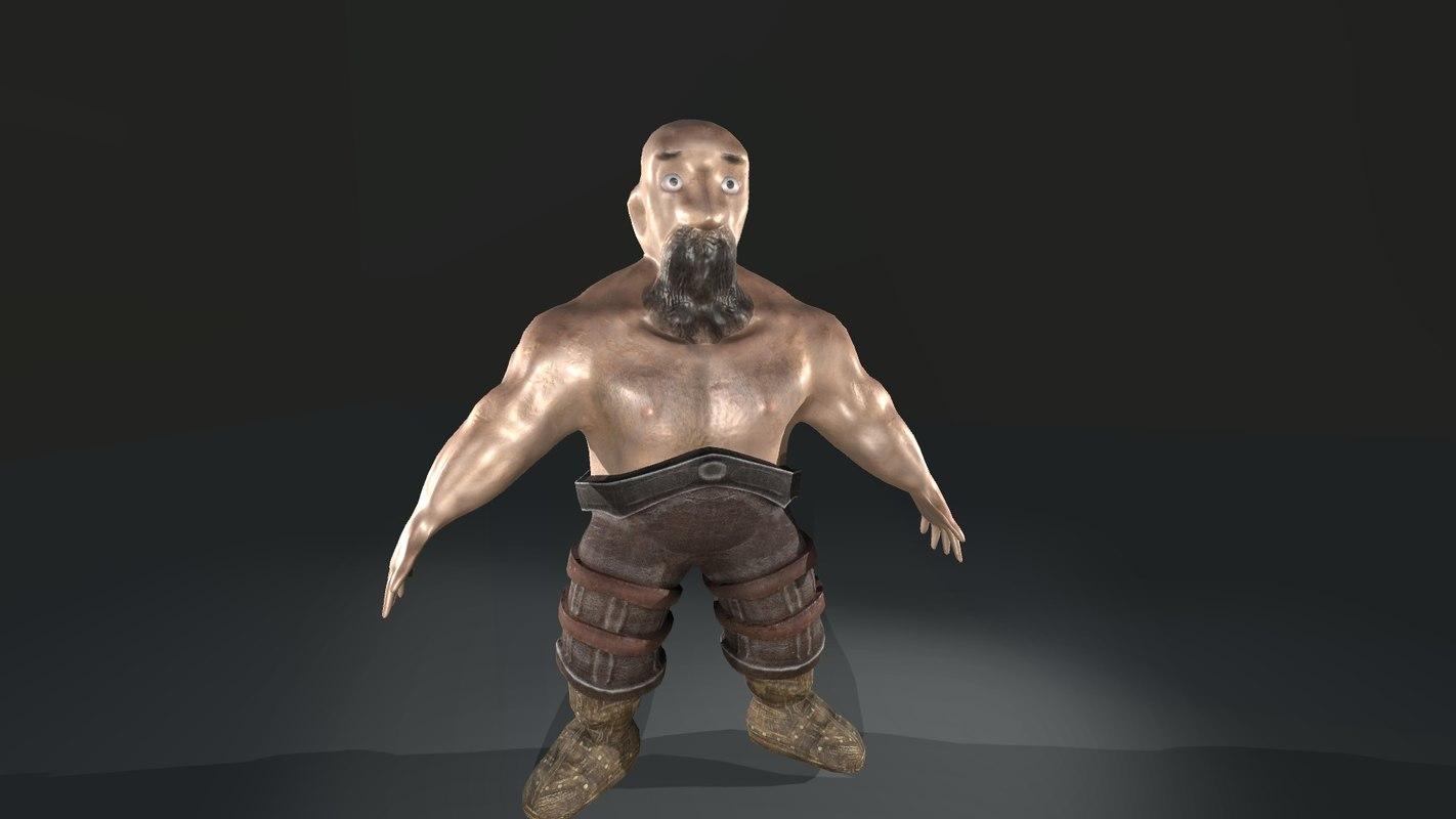 middle-poly dwarf 3d obj