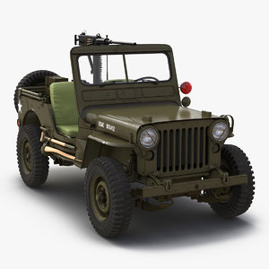 3d military jeep car willys