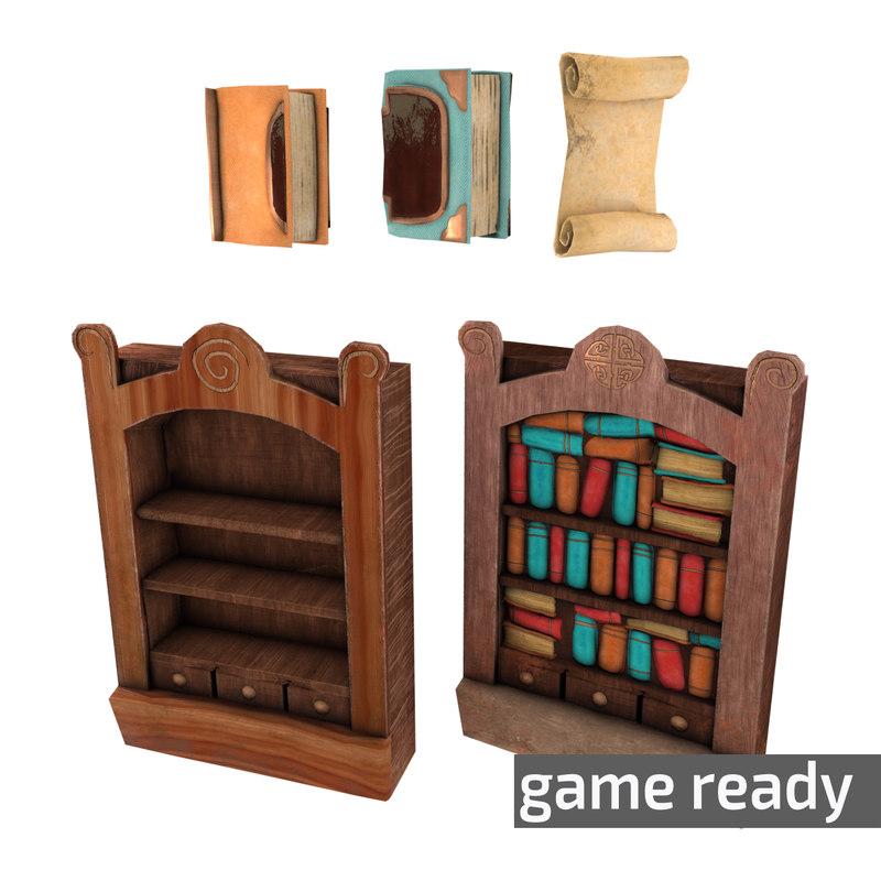 3d bookshelf pack book shelf model