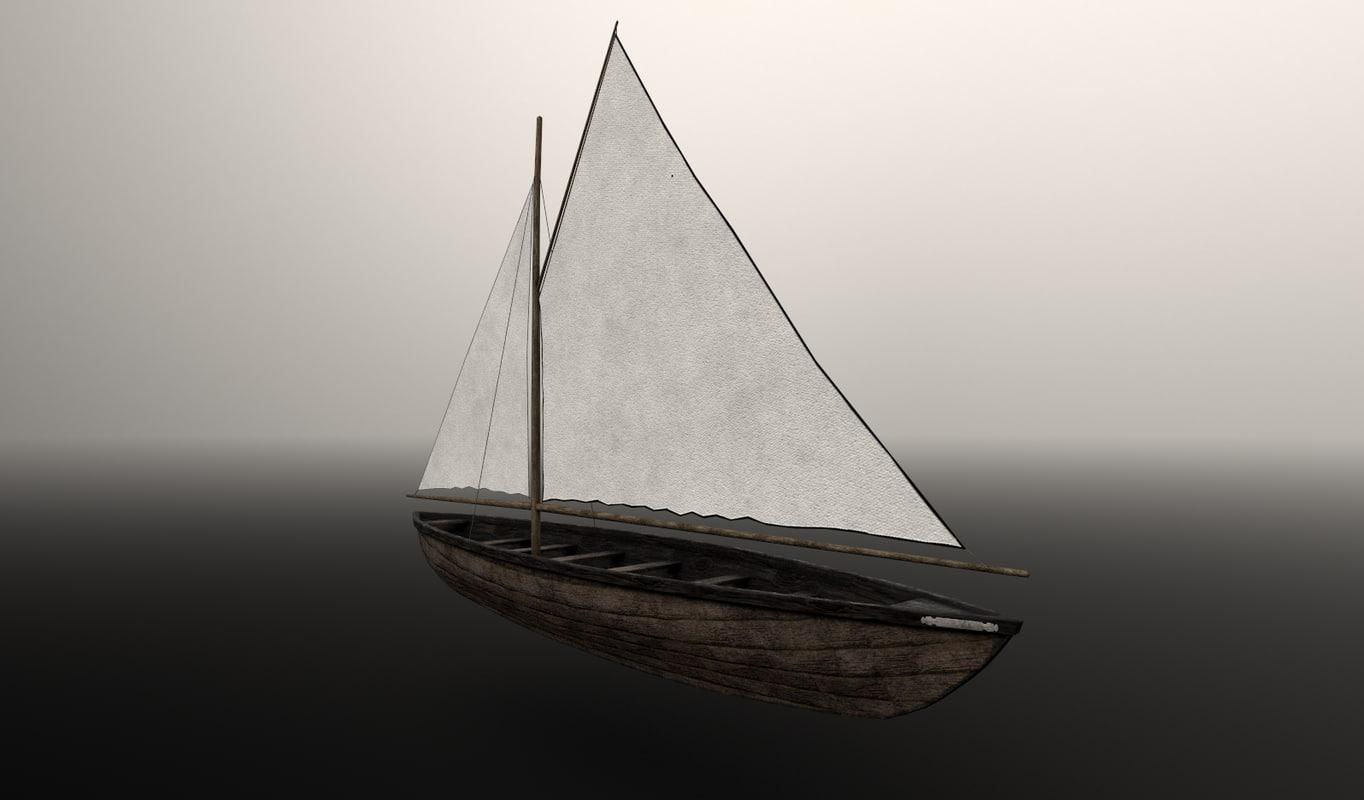 boat sailboat 3d obj