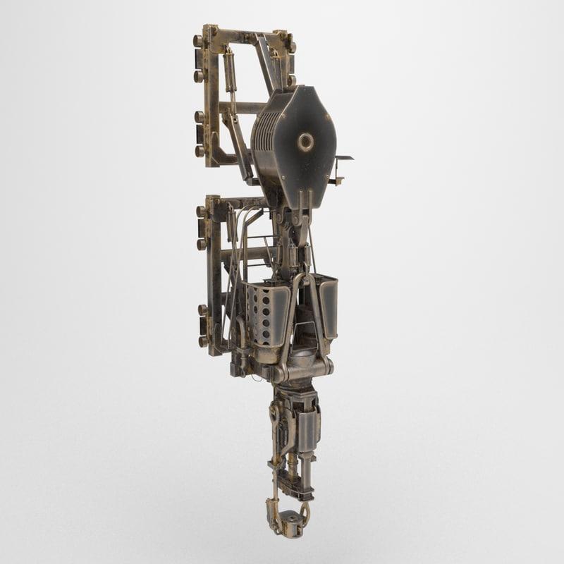 3d low-poly steampunk model
