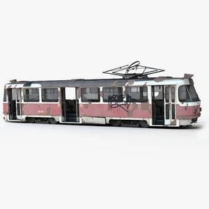 3d streetcar tram old abandoned model