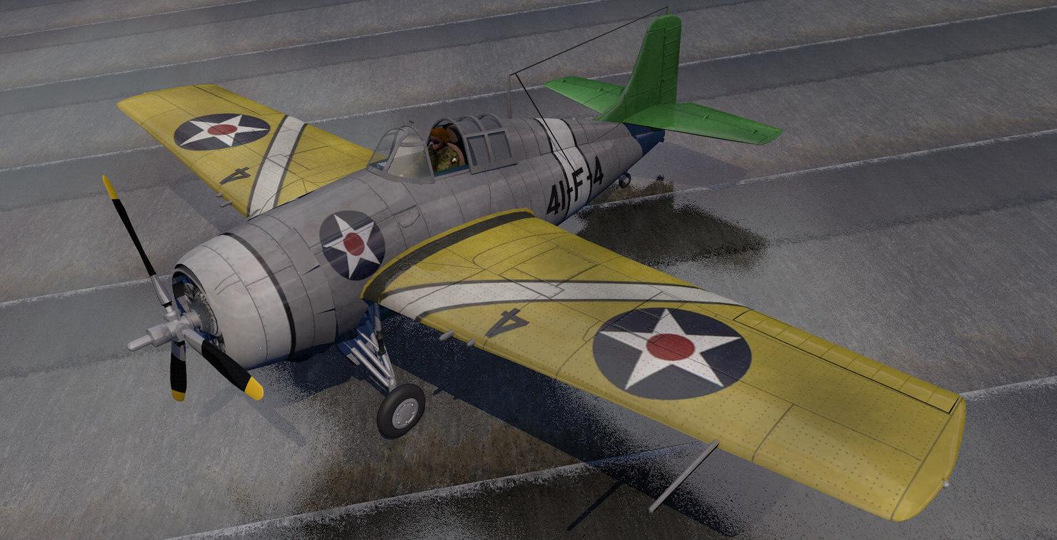 grumman wildcat fighter aircraft 3d 3ds