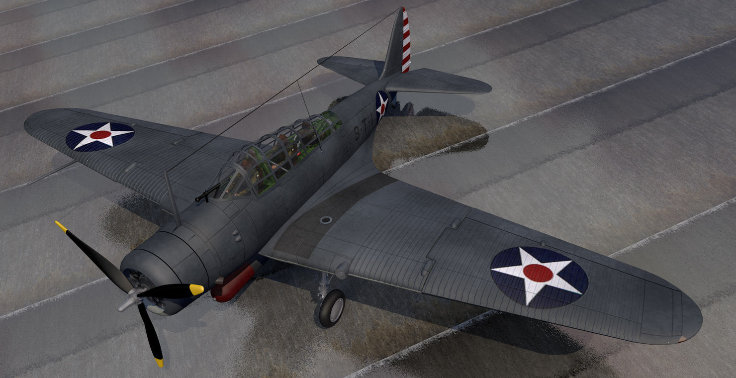 3d model douglas tbd-1 devastator bomber