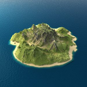 3d tropical island terrain 5 model