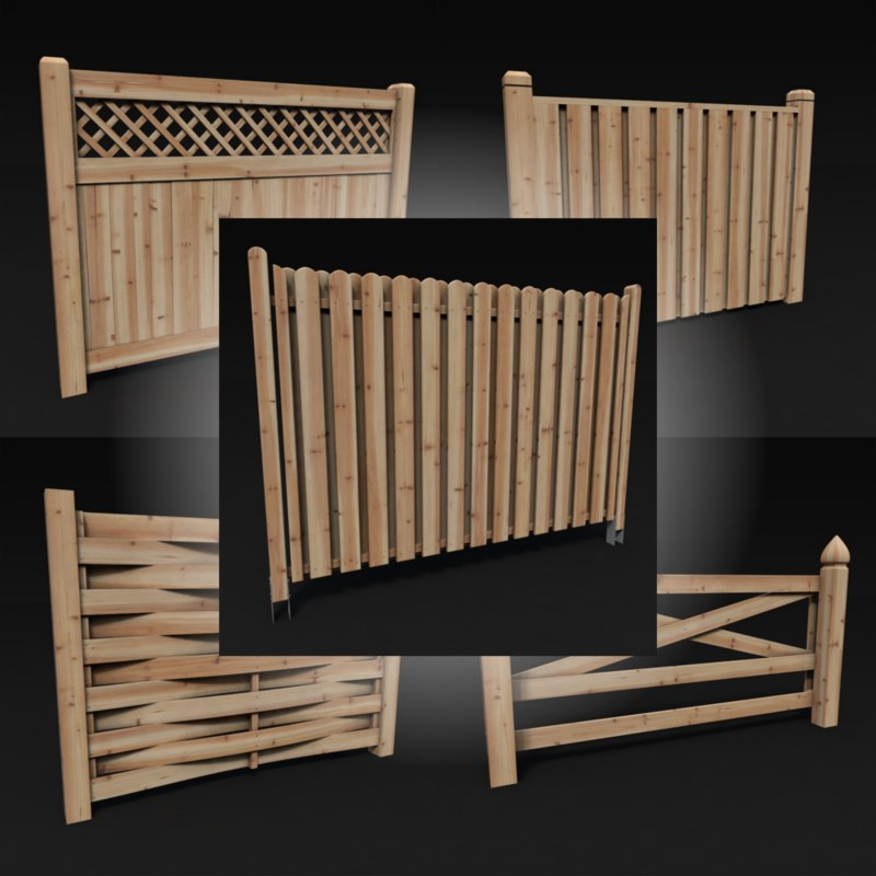 wood fences pack vol 3d c4d