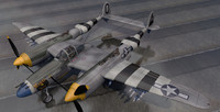 lockheed p-38j lightning fighter aircraft 3d model