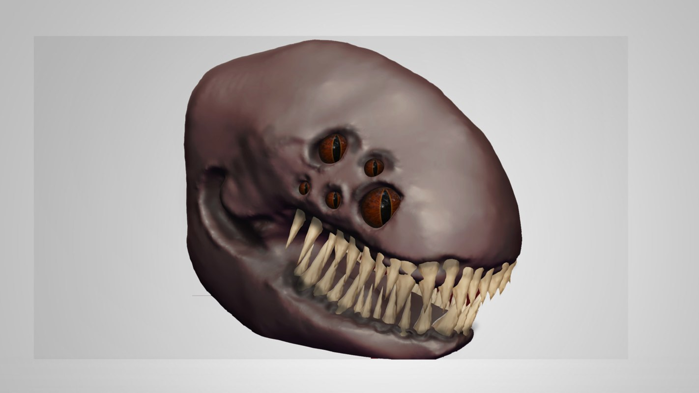 3d monster teeth eyes model
