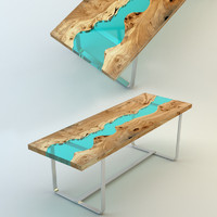 3d wood table embedded glass model