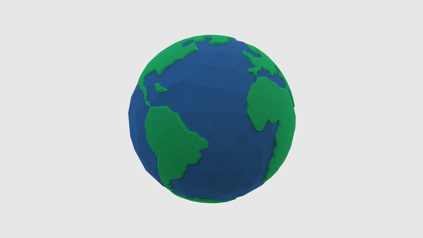 obj earth cartoon modelled