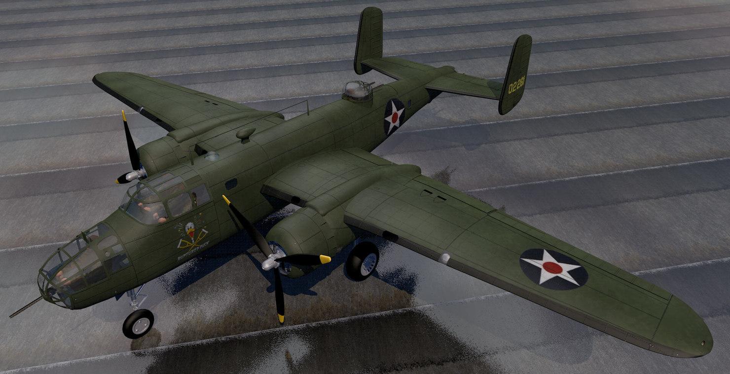 north american b-25b mitchell 3d model