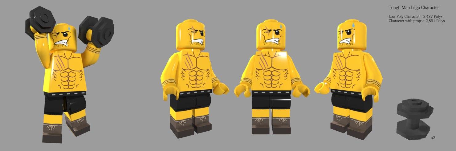 3d lego tough man