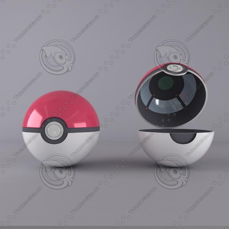 pokeball pokemon original 3d model
