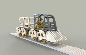 constructor train 3d obj