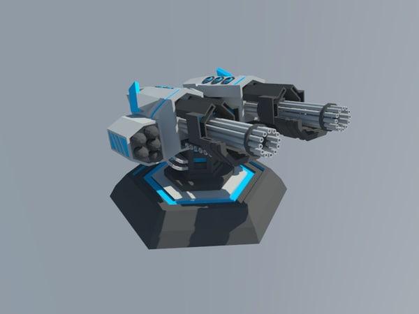 3d machine guns turret