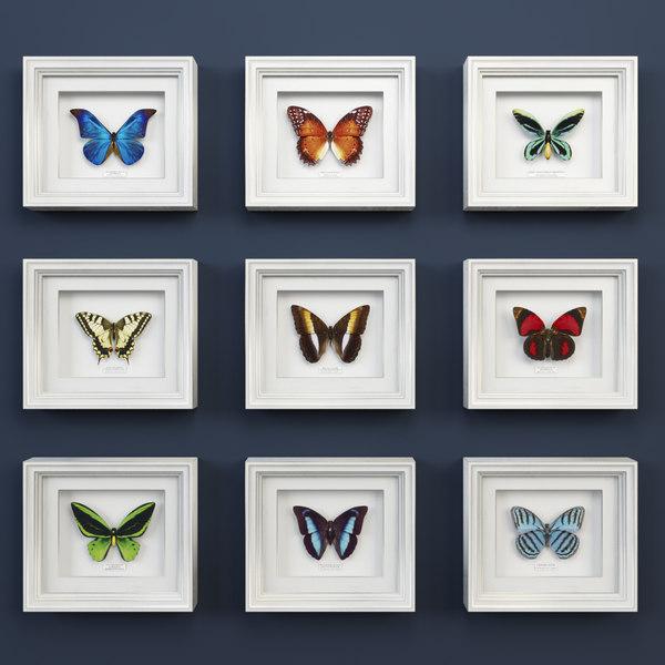 3d model decorative butterflies set design