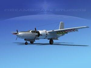 3d model radial douglas invader bomber