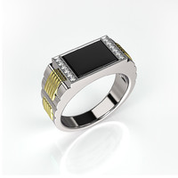 3d men ring black onyx model