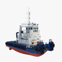 3d towing ship v-ray model