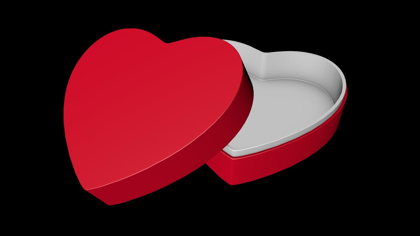 red gift box heart shape 3d 3ds