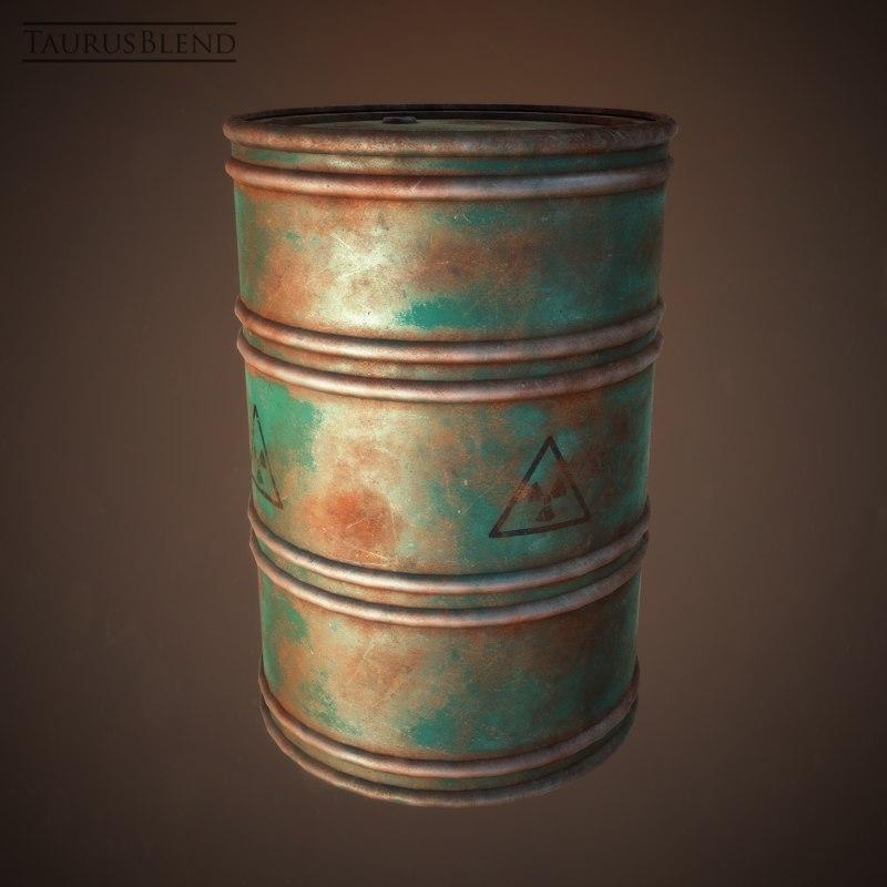 rusty industrial barrel drum 3d model