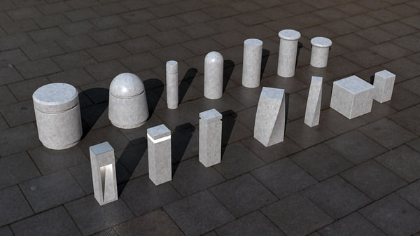 3d concrete bollards model