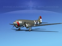 3d douglas c-47 dakota model