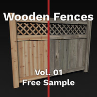 free c4d model wood fences pack vol