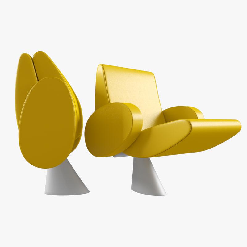 armchair tulip lamm 3d model