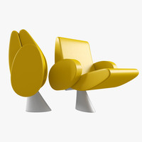 armchair tulip lamm 3d model