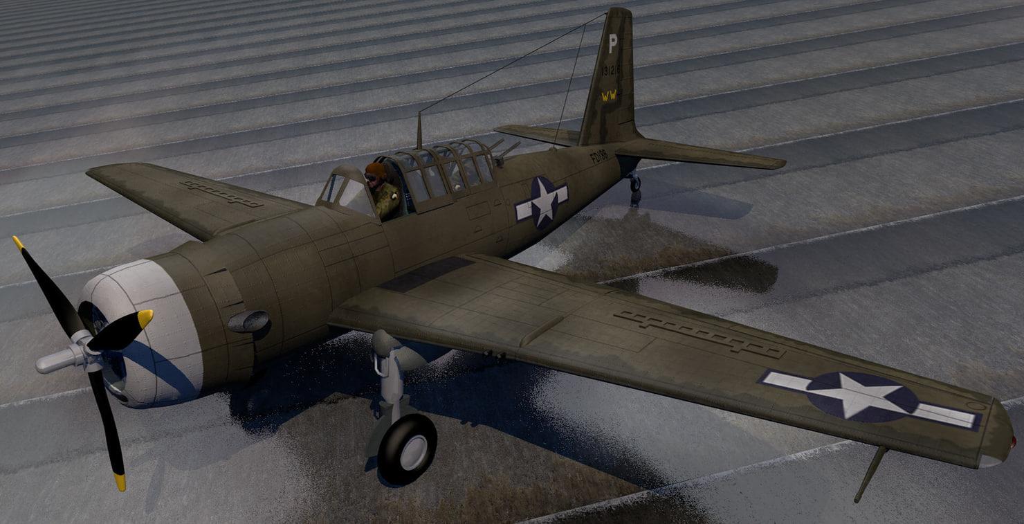 vultee a-31 vengeance bomber 3d model
