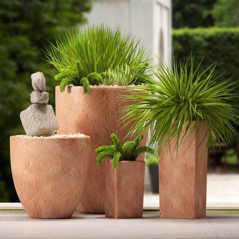 3d model clay plants